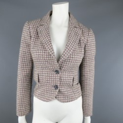 RED VALENTINO 2 Gray & Pink Plaid Wool Blend Tweed Cropped Peak Lapel Blazer