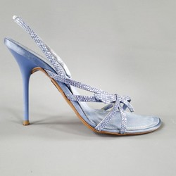 RENE CAOVILLA 10 Light Blue Swarovski Crystal Bow Strap Silk Slingback Sandals