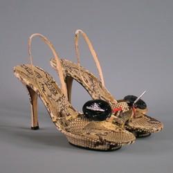 RENE CAOVILLA Size 10 Natural Leather Python Rhinestonre Platform Sandals