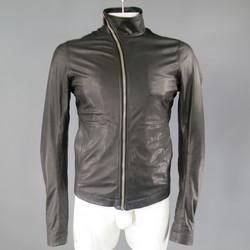 RICK OWENS 38 Black Soft Leather Asymmetrical Zip High Collar Moto Jacket