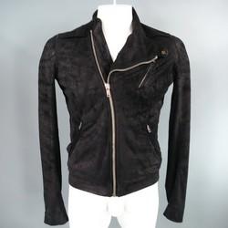 RICK OWENS 38 Black Sueded Asymmetrical Leather Biker Jacket
