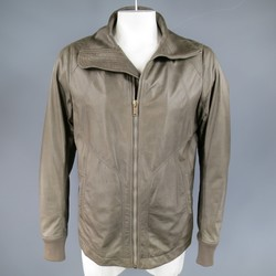 RICK OWENS 46 Muted Taupe Leather Wide Collar Jacket