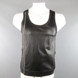 RICK OWENS Size M Black Leather Lace Up Zip Tank Top Vest