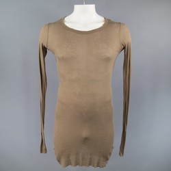 RICK OWENS Size XL Cotton Olive Long sleeve shirt