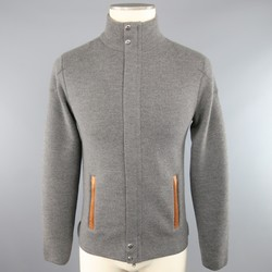 RLX by RALPH LAUREN S Grey Knitted Merino Wool Tan Leather Jacket
