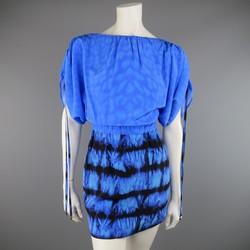 ROBERTO CAVALLI 4 Blue & Black Cheetah & Tie Dye Silk DRawstring Sleeve Dress
