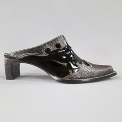 ROBERTO CAVALLI Size 10 Black Snake Leather Contrast Stitch Western Mules