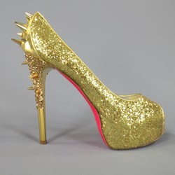 RUTHIE DAVIS Size 11 Gold Glitter Spike Studded SPIKETTE Platform Pumps