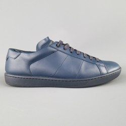 SAINT LAURENT Size 7 Navy Solid Leather Sneakers
