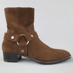 SAINT LAURENT Size 7.5 Brown Suede Ankle Harness WYATT Boots