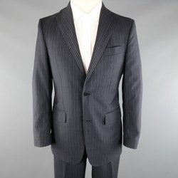 SALVATORE FERRAGAMO 38 Regular Navy Pinstripe Wool Notch Lapel Suit
