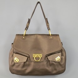 SALVATORE FERRAGAMO Brown Leather Gold Gancini Satchel Shoulder Bag