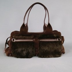 SALVATORE FERRAGAMO Brown Suede Fur Shoulder Handbag