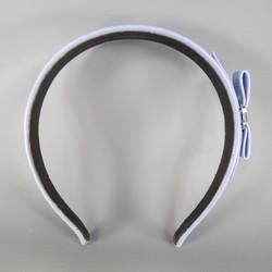 SALVATORE FERRAGAMO Light Blue Leather Bow Head Band
