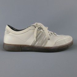 SALVATORE FERRAGAMO Size 10.5 Light Grey Leather & Suede Sneakers
