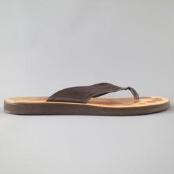 SALVATORE FERRAGAMO Size 11 Brown  Textured Leather Thong Sandals