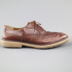 SALVATORE FERRAGAMO Size 11 Brown Perforated Leather Rubber Sole Lace Up Brogues