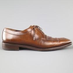 SALVATORE FERRAGAMO Size 11 Light Brown Leather Split Toe Lace Up