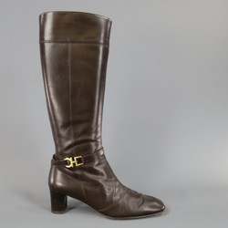 SALVATORE FERRAGAMO Size 7.5 Brown Leather Gold Gancio CalfBoots