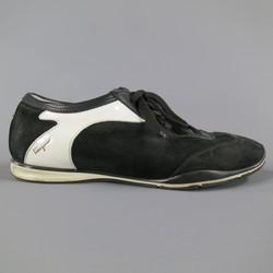 SALVATORE FERRAGAMO Size 8 Black & White Two Toned Suede Sneakers