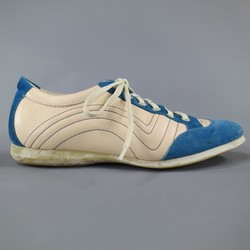 SALVATORE FERRAGAMO Size 8 Cream Leather & Blue Suede Sneakers
