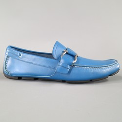 SALVATORE FERRAGAMO Size 8 Teal Blue Leather Giancini Driver Loafers