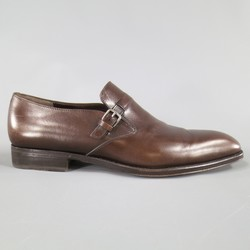 SALVATORE FERRAGAMO Size 8.5 Brown Leather Monk Strap Loafers