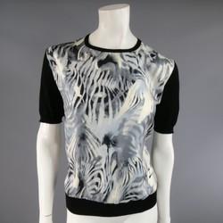 SALVATORE FERRAGAMO Size XL Black Wool Gray Silk Front Short Sleeve Pullover