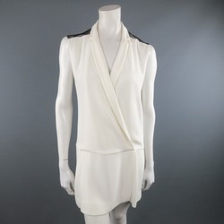 SANDRO Size S Cream & Black Crepe Mesh Shoulder Wrap Lapel Dress