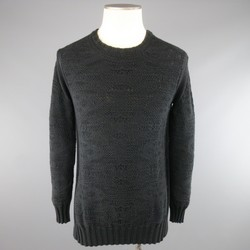 SILENT by DAMIR DOMA Size S Black Textured Cotton Knit Crewneck Slit Pullover