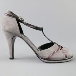 SONIA RYKIEL Size 10 Grey & Purple Suede T-strap Pumps