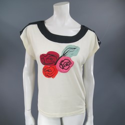 SONIA RYKIEL Size XS Beige & Black Snap Shoulder Rose Embroidery  T-shirt