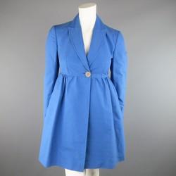 STELLA McCARTNEY Size 6 Blue Peak Lapel Empire Waist Full Skirt Coat