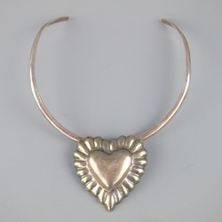 Sterling Silver Detachable Immaculate Heart Brooch Cuff Necklace