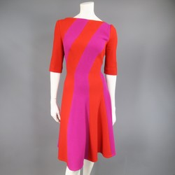 TALBOT RUNHOF Size 10 Red & Magenta Striped Virgin Wool Blend A Line Dress