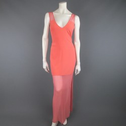 THAKOON Size 2 Coral Silk Crepe Sheer Panel Sleeveless Maxi Dress