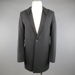 THAMANYAH 38 Black Cotton / Linen Folded Origami Lapel Coat