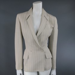 THIERRY MUGLER Size 6 Beige & Blue Pinstripe Double Breasted Jacket