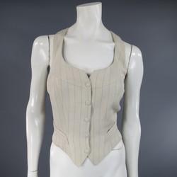 THIERRY MUGLER Size 6 Beige & Blue Pinstripe Scoop Neck  Vest