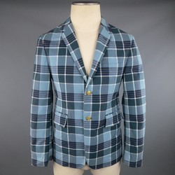 THOM BROWNE 38 Teal Blue Plaid Nylon Gold Anchor Button Sport Coat
