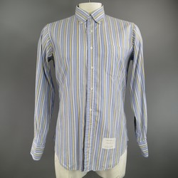 THOM BROWNE Size L Blue & Yellow Striped Cotton Long Sleeve Button Down Shirt