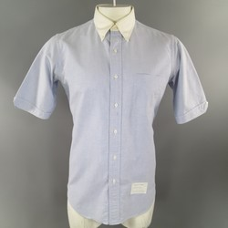 THOM BROWNE Size L Blue Cotton Short Sleeve White Collar Oxford Shirt