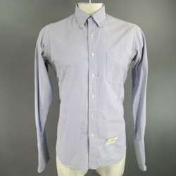 THOM BROWNE Size L Light Blue Cotton Button Down French Cuff Shirt