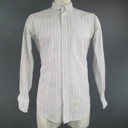 THOM BROWNE Size L White Cotton Long Sleeve Club Collar Shirt