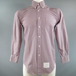 THOM BROWNE Size M Pink Long Sleeve Window Pane Micro Plaid  Pattern Shirt