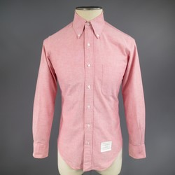 THOM BROWNE Size S Red Cotton Long Sleeve Oxford Shirt