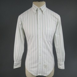 THOM BROWNE Size S White & Green Striped Cotton Long Sleeve Button Down Shirt