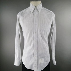 THOM BROWNE Size S White Stripe Cotton Long Sleeve Shirt