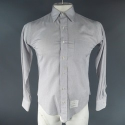 THOM BROWNE Size S White Window Pane Cotton Long Sleeve Shirt As-Is