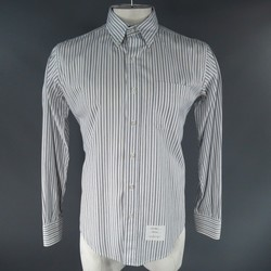 THOM BROWNE Size XL White Green & Navy Stripe Cotton Long Sleeve Shirt